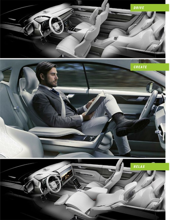 """Three modes are promised by Volvo's Concept 26. Another concern is whether the """"freedom"""" driverless cars afford in due time leads to the removal of the freedom to drive one's own automobile. Just as the insurance lobby once petitioned Congress for a 55 mph nationwide speed limit, and argued it would save lives and money, so could arguments be brought in time against people driving on public roads. This no doubt is in the back of the mind of auto enthusiasts uneasy about the liberation other see."""