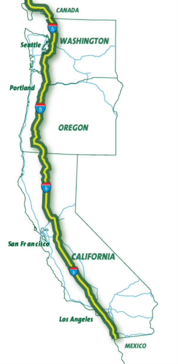 Interstate-5 through California, Oregon and Washington to be ... on map of washington state wine country, casino locations in washington state, map california to washington, map of washington state lakes, major highways in washington state, map of california and new zealand, map of washington state mineral, map of united states with capitals and national parks, map of california and san francisco, map of casinos in washington state, political map of washington state, map of california and france, map of washington roads state highways, map of northern washington state, reservations in washington state, map of california and canada, mileage map of washington state, road map western washington state, map of us states have death penalty, detailed map of washington state,