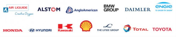 Corporate logos of member companies in the Hydrogen Council.