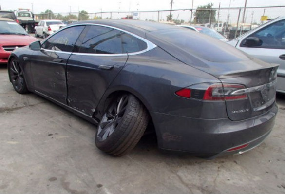 Leech said he started noticing on car auction sites and elsewhere salvage Teslas with wheels broken off. In certain cases, Leech said he believes some photos show no evidence for why a wheel would snap off.