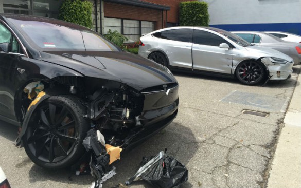 """""""They should buff right out,"""" said Leech in a characteristic snarky comment that has made him unpopular in some circles. On a serious note, the Model X shares design elements with the S, and these photos he supplied show something else he sees as characteristic – wheels breaking off either by impact, or in cases, without impact."""