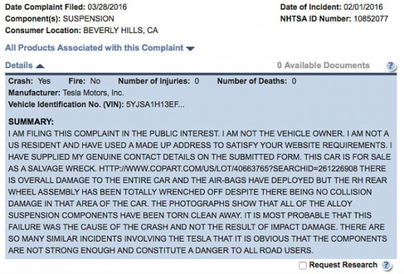 """One of numerous complaints. Leech says these are not fraudulent and he is attempting to raise awareness via channels. NHTSA's site imposed the ALL CAPITAL LETTERS style.  """"NHTSA always capitalizes the whole thing,"""" said Leech. """"And then I get yelled at for shouting :-)"""""""