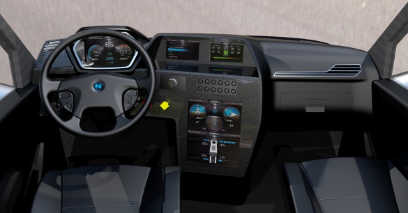 A 15-inch touchscreen controls most functions. It displays and controls a variety of vehicle dynamics including battery levels, range, wheel torque, cabin controls, navigation and vehicle data.