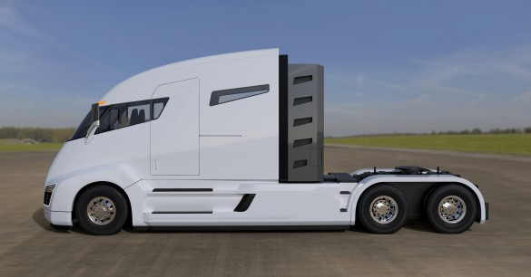"""Images are all computer generated. The working prototype is to be revealed Dec. 2, 2016. One of the FAQs on the company's site asks: """"Why do you say you get 15-20MPG while posting 100 gallons of fuel stopping every 1,200 miles?"""" Answer: """"Not all natural gas onboard is useable. It is a gaseous fuel so you are not able to use all of it. We also had to provide worst case scenario numbers. We anticipate much higher MPG but have to post worst case, which in this case is still amazing."""" Alternately, the Nikola One can travel around 100-200 miles on battery alone, depending on the size of the load."""