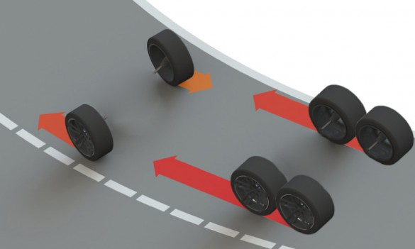 """Torque vectoring allows control of each wheel independently through drive-by-wire. """"By communicating with the motors up to 30 times a second, the speed of each wheel can be adjusted while cornering, maneuvering, accelerating and braking - making it safer for drivers.,"""" says the company."""
