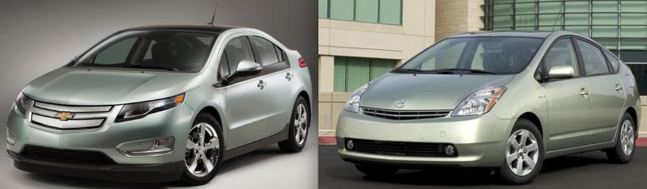 2011 Chevrolet Volt And 2008 Toyota Prius.