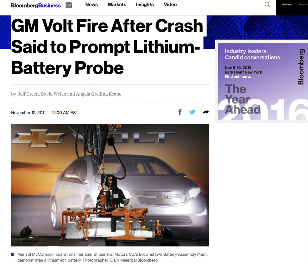 "Protocol calls for ""depowering"" the battery just as first responders empty gasoline tanks after crashes. The federal government however did not depower the Volt's battery after rupturing it. Coolant escaped, crystalized, bridged a gap, created a short circuit, and a fire started in the car stored in a lot more than a week after the crash test. There was no explosion as some (mis)represented at the time."