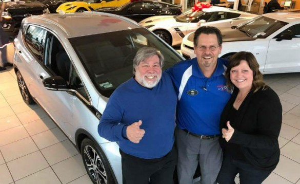 Apple co-founder Steve Wozniak and wife Janet with a new Chevy Bolt which just went on sale in December with 579 delivered in Oregon and California, and national roll-out happening this year.